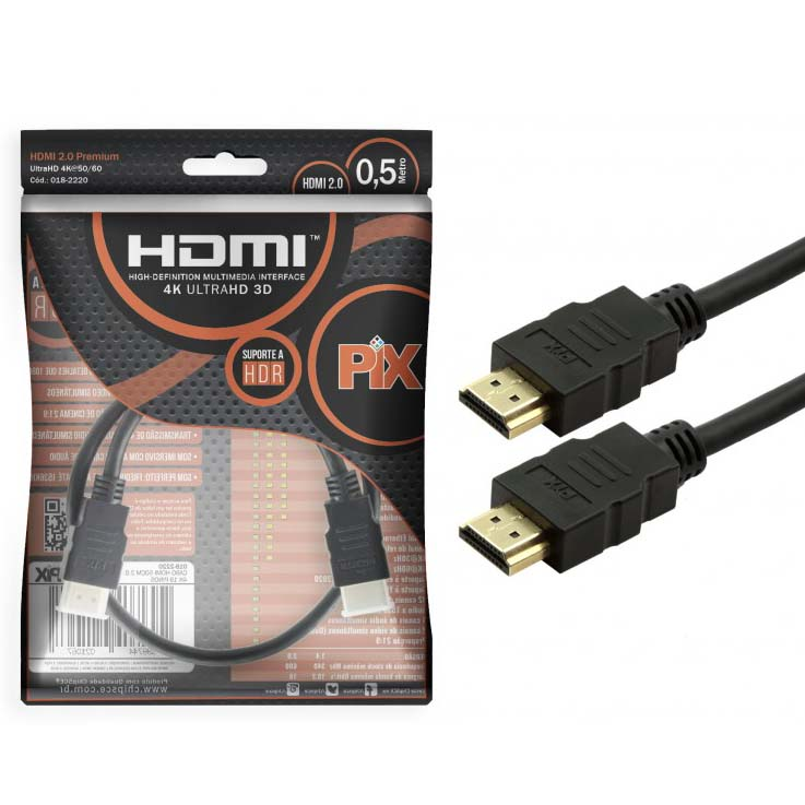 Cabo HDMI 2.0 19 pinos 4K 50cm 018-2220 - CHIP SCE (PIX)